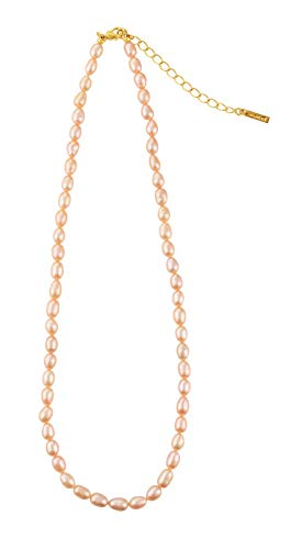 emanuel/Emanuel Ungaro, Collar con Perlas Naturales Color Rosa y con Baño de Oro 22 Kilates.-Joyería de Mujer
