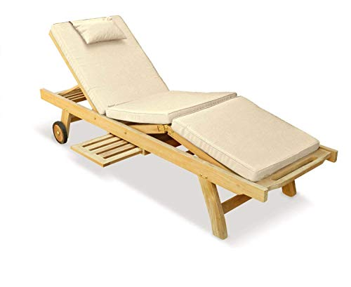 Jati Premium Teak Sun Lounger with Natural Cushions Brand, Quality & Value