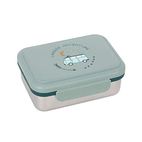 LÄSSIG Kinder Brotdose Edelstahl Lunchbox Frühstücksbox nachhaltig Kindergarten Schule/Adventure Bus