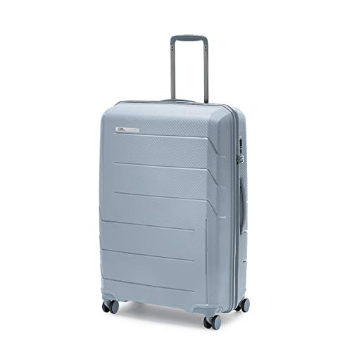 Ciak Roncato, Maleta Grande rígida de Polipropileno, Serie Air, para Viajes Largos, Equipaje de embarcar, Color Plateado
