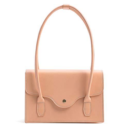 Genuine Leather Handmade Underarm Bag and Handbags for Women Vintage Shoulder Tote Bags Top Handle Satchel (Light Green)
