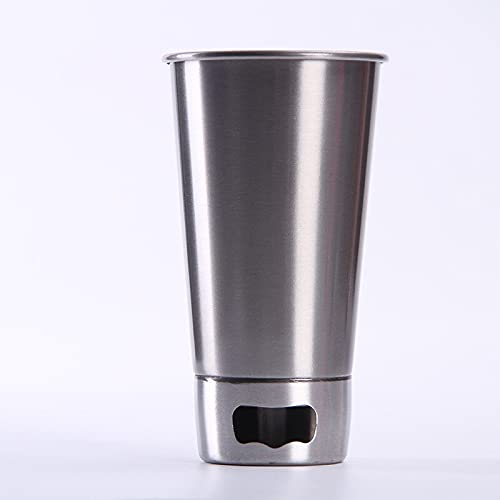Xyxiaolun Tazas de Cerveza multifunción Taza de Cerveza de Acero Inoxidable para té Tazas de café Botella de Agua Tazas portátiles a Prueba de Fugas con Tapas Sacacorchos(Plata,500ml)