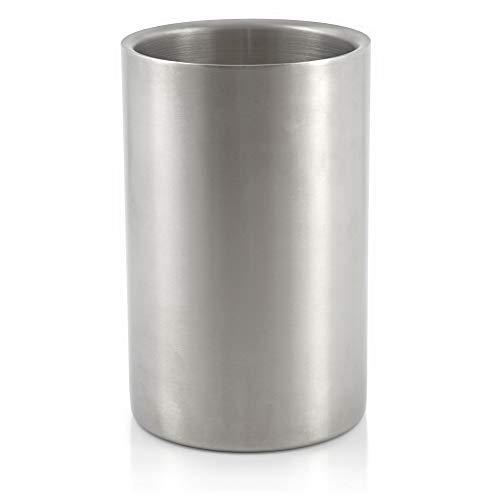 Mahlzeit Weinkühler, Edelstahl Sektkühler, doppelwandig, Ø 12 x (H) 19 cm, matt gebürstet, doppelwandiger Flaschenkühler