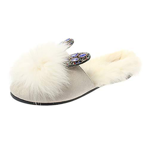 FRAUIT Scarpe Donna Eleganti Basse Con Strass Da Cerimonia Matrimonio Ciabatte Ragazza Con Pelo Invernali Pantofole Ragazze Invernali Chiuse Inverno Autunno