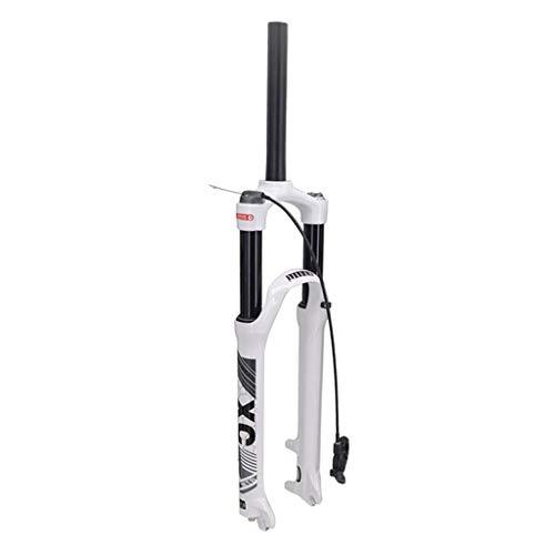Bloqueo Remoto Horquilla de Suspensión 26' 27.5 Pulgadas 29er MTB Horquilla Bicicleta, Aleación Sistema de Doble Cámara de Aire Choque Efectivo Viajar: 120mm (Color : White, Size : 29 Inches)