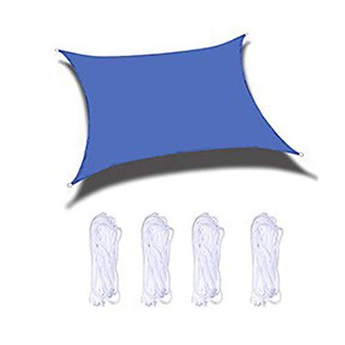 Toldos Terraza,Cortina para Patio De Vela Azul, Esquinas Reforzadas, Bordes Y Tela Permeable, Resistente Súper Duradera, Rectángulo De Sombra De Vela(Size:4X4m/13X13ft)