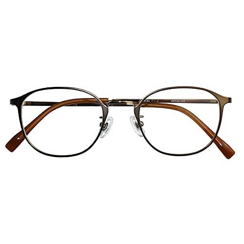 遠近両用メガネ ブランシック クラシック cl-3085 (ブラウンゴールド) (メンズセット) 全額返金保証 境目のない 遠近両用 老眼鏡 (瞳孔間距離:63mm〜65mm, 近くを見る度数:+1.0)