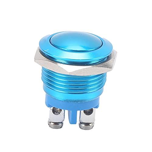 Interruptor de botón, interruptor de botón de metal fácil de instalar bien hecho para la fábrica(azul, Rosa)