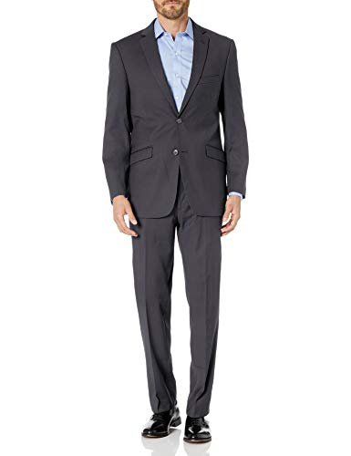 Lazetti Couture Men's Single Breasted Suit, Grey, 42 Short