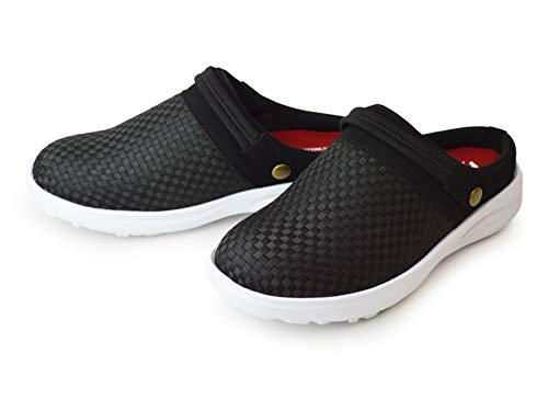 [スプラッシュ] サボサンダル メンズ スリッポン クロッグ 2way ベルト 軽量 着脱簡単 防滑 チェック クッション 屈曲性 靴 メンズシューズ サンダル カジュアルシューズ Black L(26-26.5cm相当)