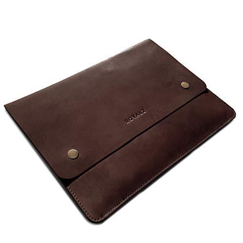 ROYALZ Ledertasche für Samsung Galaxy Tab S6 Lite Schutzhülle 10.4 Zoll Flach 2020 (SM-P610, SM-P615) Vintage Optik Schutz Tasche, Farbe:Dunkel Cognac Braun