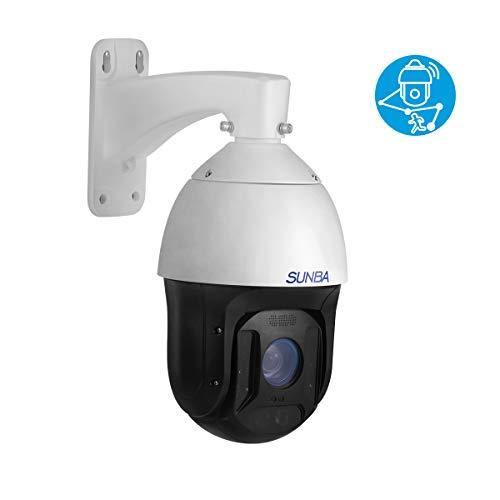 SUNBA 1080p Auto Tracking Telecamera IP PoE + PTZ con zoom ottico 25x, RTMP per radiodiffusione ed esterno con microfono incorporato e visione notturna a infrarossi a lunga distanza (Illuminati)