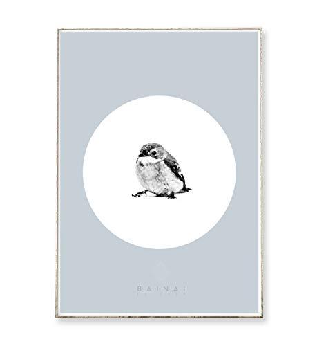 DIN A4 Kunstdruck Poster SPATZ -ungerahmt- Vogel, Tier, Kreis, geometrisch, skandinavisch