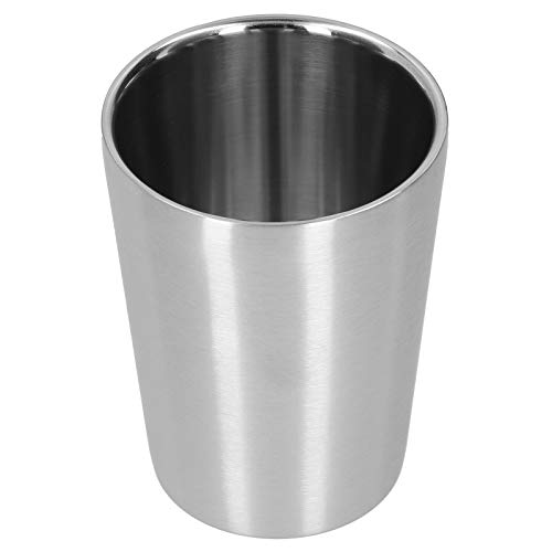 Taza de agua de 260 ml de acero inoxidable de doble capa de cerveza taza de bebidas para cocina comedor pasillo 3x3.7 pulgadas plata