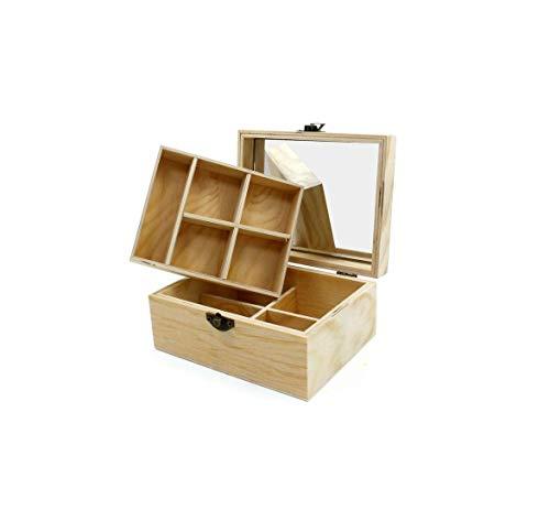 Takestop® - Caja de 9 compartimentos, 16 x 7 x 13 cm, con espejo de madera, portaobjetos, plegable, ideal para oficina, casa, coser, decoupage