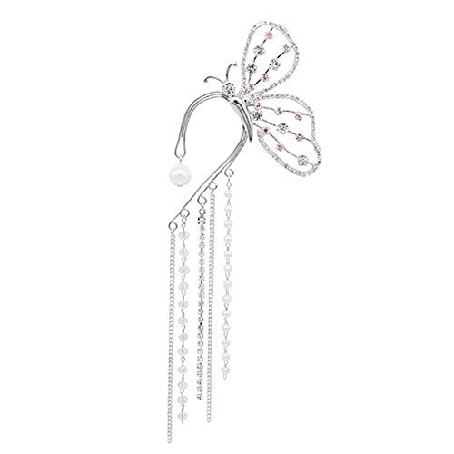HBWHY - Orecchini da donna a forma di farfalla, con nappe lunghe di cristallo, idea regalo di compleanno