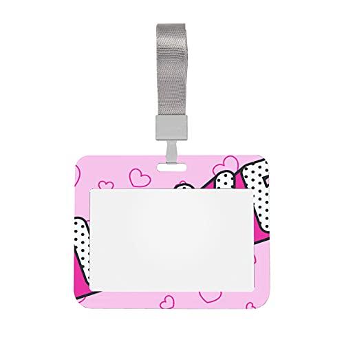 Protector de tarjetero 4x3 Love Word en rosa claro Porta credencial de 4 x 3 con cordón Clip de soporte de identificación de estilo horizontal para oficinas, escuelas, lugares de trabajo