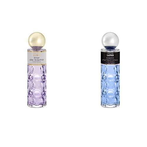 PARFUMS SAPHIR Star, Eau de Parfum con vaporizador para Mujer, 200 ml + Perfect Man Eau de Parfum con vaporizador para Hombre 200 ml
