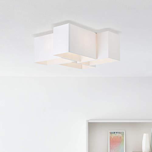 Moderna lámpara de techo textil, 4 bombillas E14, máx. 60 W, de metal/textil en blanco/negro.