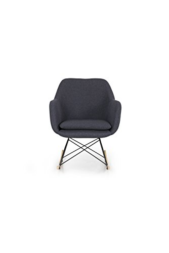 Tenzo 3360-219 EMMA Designer schommelstoel, metaal, 82 x 64 x 75 cm (HxBxD), zitting: stoffen bekleding, grijs/zwart