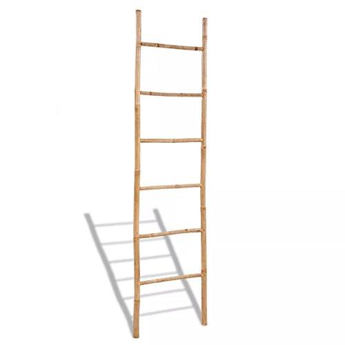 XingliEU handdoekladder van bamboe met ladder met 6 treden, sterk en zeer duurzaam voor jarenlang gebruik.