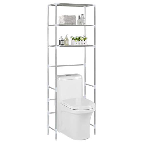 Festnight- 3-stufiges Toiletten-Regal WC-Regal - Badezimmer WC Regal Organizer, Silbern 53×28×169 cm