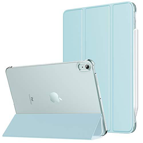 MoKo Funda para iPad Air 4ta Generación 2020 iPad 10.9 2020 Tableta, [Admite Carga Inalámbrica Apple Pencil] Trasera Transparente Ultra Delgado Soporte Protectora Plegable Cubierta, Azul Claro