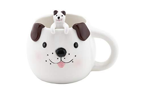 FMC Cute Animal Novelty Ceramic Coffee Tea Mug with Matching Spoon 16 fl oz Mug Cute Puppy