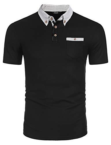 Poloshirt Herren Einfarbig Basic Kurzarm Polohemd Golf T-Shirt mit Brusttasche Polo Shirts männer