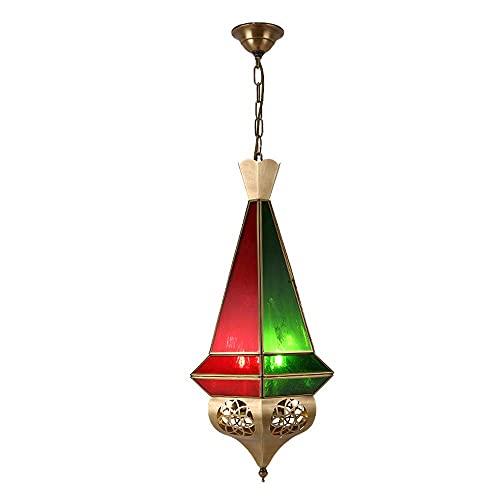 Lámpara colgante oriental, color rojo y azul, casquillo E27, diseño marroquí, lámpara de techo de Marruecos, lámpara oriental para salón, cocina o para colgar sobre la mesa del comedor