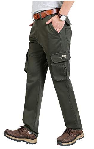 Tofern Herren Hose Cargohose Fleece gefüttert mit Seitentaschen warm wasserdicht für Winter wandern Outdoor, Grün EU 54 (Label 40)
