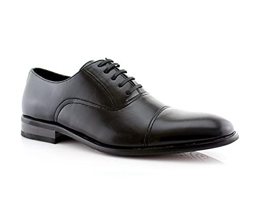 Ferro Aldo Charles MFA19569L Mens Classic Captoe Lace Up Oxford Casual Dress Shoes Black