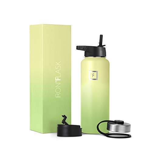 Iron Flask Sports Water Bottle - 32 Oz, 3 Lids (Straw Lid), Vacuum Insulated Stainless Steel, Hot Cold, Modern Double Walled, Simple Thermo Mug, Hydro Metal Canteen (Lime)