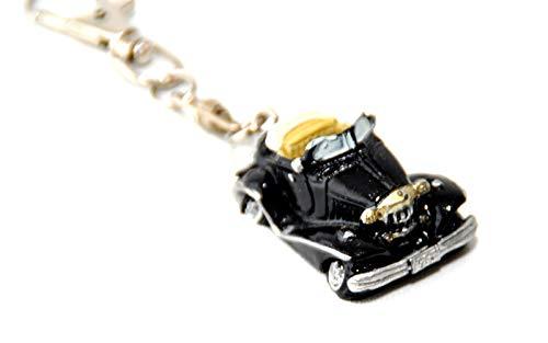 Schnäppchenladen24 Schlüsselanhänger Italienisches Auto Oldtimer schwarz handbemalt für Italien Liebhaber Anhänger