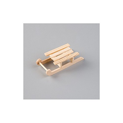 Schlitten Traditionelle Holz-8cm, Miniatur aus Holz roh