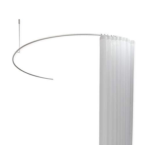 PHOS Design, DR700HD, Halbkreis Duschstange, Breite 140 cm, einkürzbare Deckenhalterung, Duschvorhangstange rund in U-Form, gebogene Duschenstange für Badewanne, Edelstahl matt, Vorhanghalterung