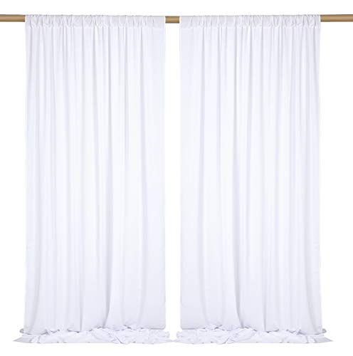 SHERWAY 2 Panels 4.8 Feet x 10 Feet Silky Soft White Backdrop Drapes, Polyester Window Curtains for Wedding Party Ceremony Stage Décor (10% Transparency)