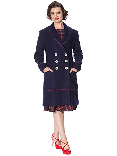 Banned Retro Damen Mantel Blue Diva Coat OT65019 (S, Navy)