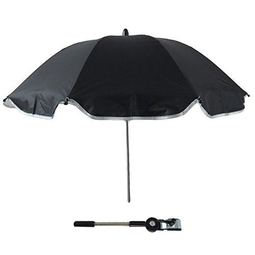 Gosear Sombrilla Silla Paseo Universal, Cochecito Paraguas sombrilla Parasol para Sillita de bebé protección UV, 360 Grados de dirección Ajustable (Negro)