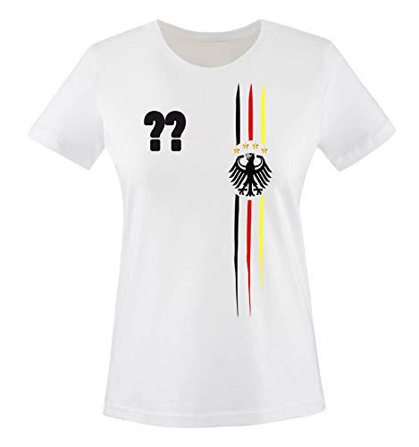 Comedy Shirts - WM 2018 | M1 | VORNE + HINTEN | Wunsch - Damen T-Shirt - Weiss/Schwarz-Rot-Gelb Gr. XXL