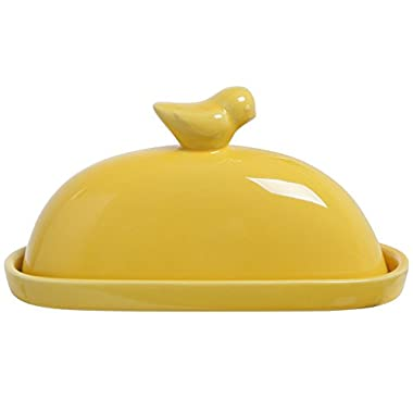 MyGift Yellow Bird Design Decorative Ceramic Butter Dish and Lid Cover