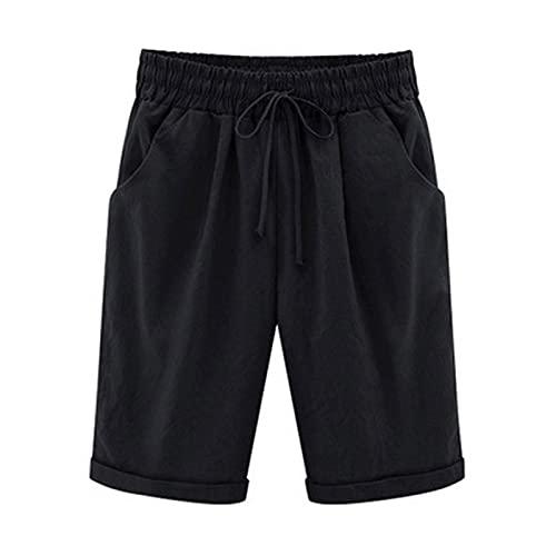 Bermuda Shorts Women Cotton Linen Elastic Waist Shorts Lounge Short Pants Plus Size Hot Pants with Pockets Black