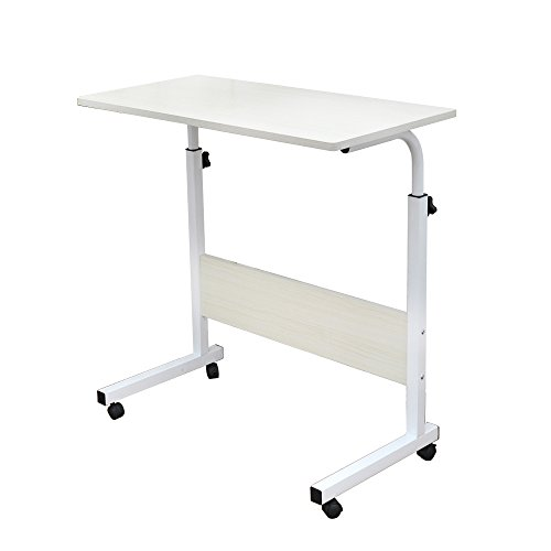 DlandHome Laptop Stand Adjustable 60 * 40cm Computer Standing Desk Movable w/Wheels, Portable Side Table for Bed Sofa Hospital Reading Eating, Mape