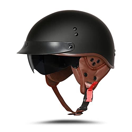 LIONCIANO Cascos De Motocicleta para Hombres y Mujeres Aprobado por Dot/ECE, Cascos De Ciclomotor con Viseras El(Negro Mate, L 59-60cm)