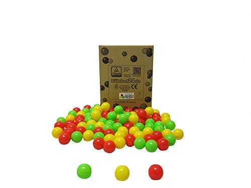 Bällebad24 - 200 bolas para piscina de bolas, colores rojo, amarillo y verde claro,...