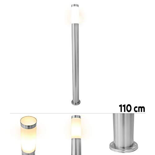 Grafner XXL Edelstahl Wegeleuchte mit E27 Fassung, Höhe: 110 cm, Wegleuchte Weglampe Gartenlampe Gartenleuchte Standlampe Außenstandleuchte Pollerleuchte