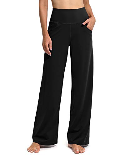Promover Women s Wide Leg Yoga Pants High Waist Bootcut Sweatpants for Working Hiking Stretch Pants with Pockets Loose Fit (Black, L)