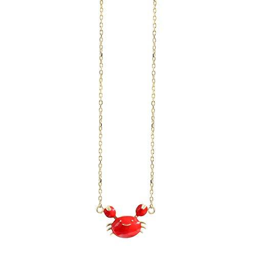 Jewelry CCF Boutique Plata Cangrejo pequeño Collar Sencillo Rojo glaseado baño de Oro de 14 kilates Cara Sonriente Personalidad Cadena de clavícula Hembra