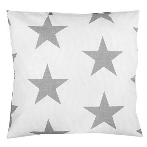 TupTam Kissenhülle Dekorativ Gemustert, Farbe: Weiß Große Graue Sterne, Größe: 50 x 50 cm