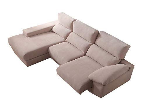 Sofá Chaiselongue - Alta Gama - Asientos Deslizantes - Respaldo Reclinable - 3 Posiciones - Kamasof - Exclusive Vega - ChaiseLongue Izquierda